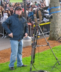 Camera man in Seattle filming The X-Facto